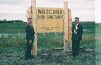 Photo taken in 1956 of two Canadian Wildlife Service employees. Photo: Fred G. Bard